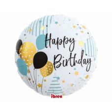 Folija balons, Happy Birthday ar baloniem, (35 cm)