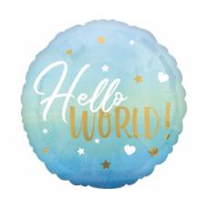 Folija balons, Hello world, Zils, (43 cm)