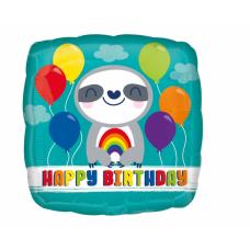 Folija balons, Happy Birthday, Slinķis, (43 cm)